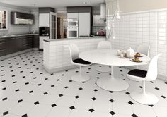 Awesome Floor Kitchen Room Designs Ideas With Breathtaking Illustration: Beauiful Octagon Floor Tile Design With White Round Table And Chairs Comfortable As Interesting Decor Style ~ last-times.com Floor Design Inspiration