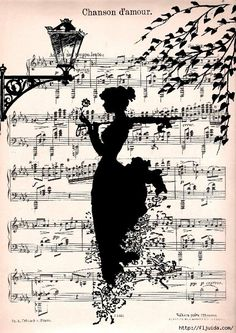 Items similar to LOVE SONG music retro 30 art Print art Poster Wall Decor Illustration Romance Melody Music Sheet on Etsy Old Sheet Music, Music Sheets, Silhouette Art, Music Notes, Belle Photo, Silhouettes, Paper Art, Music Paper, Book Art