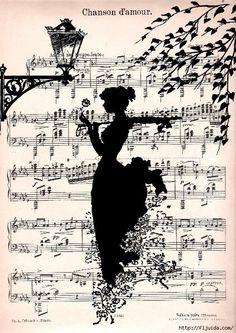 Items similar to LOVE SONG music retro 30 art Print art Poster Wall Decor Illustration Romance Melody Music Sheet on Etsy Old Sheet Music, Music Sheets, Illustration, Silhouette Art, Music Notes, Belle Photo, Silhouettes, Paper Art, Music Paper