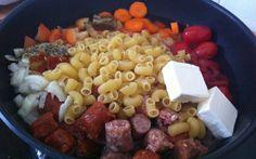 Recette One Pot Pasta aux Merguez et Chipos pas chère et simple > Cuisine Étudiant