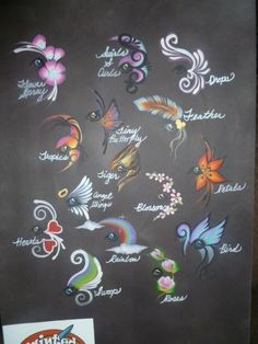 girl face painting display board This is beautiful, works better on black board than white great idea!
