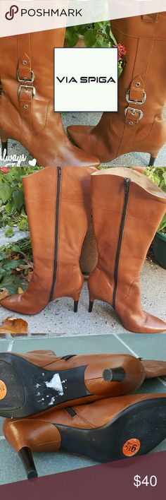 LN Via Spiga Caramel Leather boots 9.5 These were born exactly one time and are like brand new. No original box. 4 inch heels. Price firm. Wonderful soft leather. 15 inches at widest. Zipper entry. These were my boots and they are true to size. Via Spiga Shoes Heeled Boots