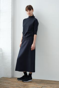 AUTUMN WINTER 2017 – WASHED INDIGO CASHMERE SHORT SLEEVE MOCK NECK, NAVY SOFT HERRINGBONE WOOL TAILORED SKIRT, CHARCOAL FINE MERINO SOCK, BLACK NYLON MIZUNO RUNNING SHOE