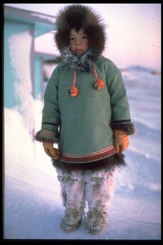 Inuit boy w/ parka, fur pants & kamiks