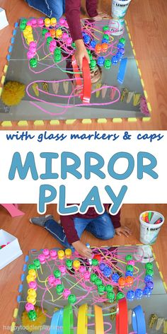 Mirror Play activity for toddlers and preschoolers with washable colourful glass markers, caps and rainbow blocks. Motor Skills Activities, Toddler Learning Activities, Sensory Activities, Play Activity, Kindergarten Activities, Sensory Play, Infant Activities, Sensory Therapy, Sensory Boxes