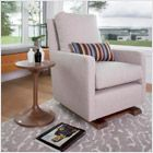 Monte Design Modern Nursery Furniture - modern upholstered como glider and ottoman - shown here in sand with solid walnut base. Glider Chair, Swivel Chair, Chair Cushions, Pebble Grey, Exposed Wood, Cool Chairs, Lounge Chairs, Designer Pillow