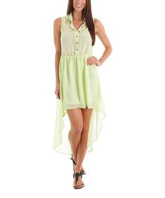 Neon Green Studded Hi-Low Dress by Buy in America #zulily #zulilyfinds