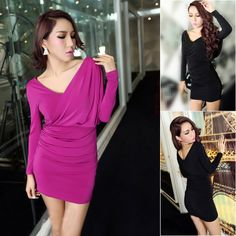 This boducon club dress is in fashion Korean style with solid color, pinch pleated shoulder, slim package hip hem, front crossed V collar and long sleeves. It is soft and comfortable to wear. It can show your personality perfectly. It is a perfect option for you, act now.  Features: * Solid co...
