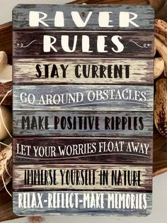 River Rules - Metal Sign - River Advice - River Quotes - Home Decor - Metal Wall Decor - Man Cave Sign - Camping Sign - Lake House Decor - Home Design Man Cave Garage, Cute Dorm Rooms, Cool Rooms, Farmhouse Design, Rustic Farmhouse, River Quotes, Cave Bar, Camping Signs, Camping Ideas