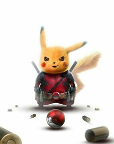 Art by BossLogic Pikachu - Deadpool Pikachu Pikachu, Pokemon Go, Pichu Pokemon, Pikachu Memes, Deadpool Pikachu, Deadpool Art, Deadpool Quotes, Deadpool Tattoo, Deadpool Costume