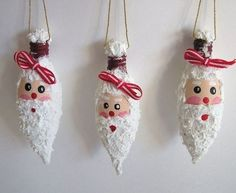 Christmas decorating ideas – 21 ways to reuse old light bulb.- Christmas decorating ideas – 21 ways to reuse old light bulbs christmas decorating ideas diy easy project made of burned decorated bulbs beard face ribbons buddies - Recycled Christmas Decorations, Christmas Ornament Crafts, Christmas Projects, Christmas Diy, Christmas Crafts, Santa Ornaments, Recycled Light Bulbs, Light Bulb Crafts, Painted Light Bulbs