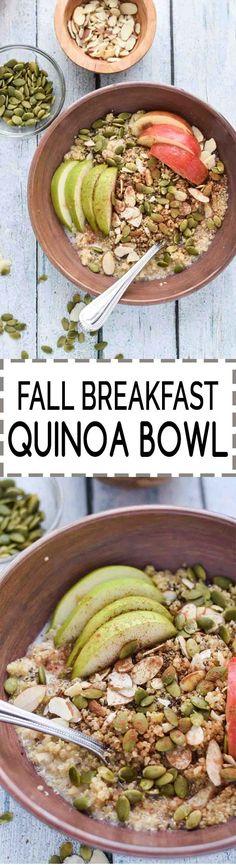 Fall Breakfast Quinoa Bowl! Vegan, vegetarian, gluten-free, only takes 10 minutes to make!