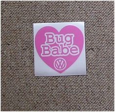 Pink VW Beetle Retro Car Graphic Decal Sticker Girly