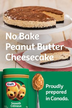Proudly prepared in Canada. Peanut Butter Cheesecake, Cheesecake Recipes, Cookie Recipes, Dessert Recipes, Dinner Recipes, Easy Desserts, Delicious Desserts, Yummy Food, Butter Chicken