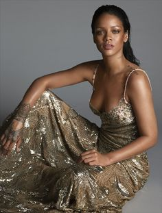 Rihanna in a Givenchy Haute Couture by Riccardo Tisci sequined dress. Photographed by Mert Alas and Marcus Piggott, Vogue, April 2016