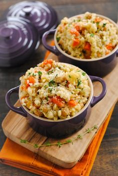 Slow-Cooker Barley & Chickpea Risotto - a big bowl of whole grains packed with chickpeas, cauliflower and vegetables. Your slow cooker does all the work for you!
