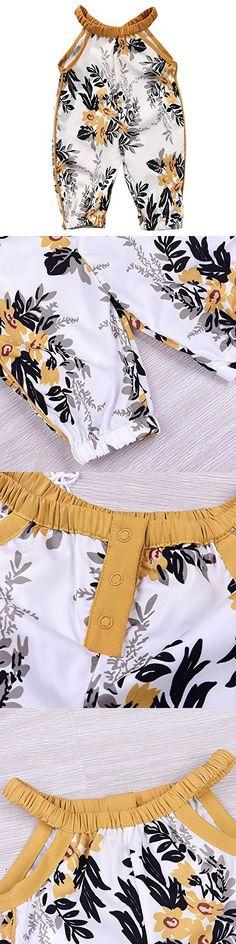 GSHOOTS Baby Girls' Floral Romper Sleeveless Halter Jumpsuit Round Collar Harem Cropped Pants (0-3 Months, Brown Flower Print)