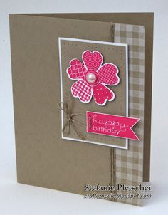 The Crafty Medic: Birthday Flower - Stampin' Up! Flower shop stamp set and pansy punch with Banner Greetings stamp set and Gingham wheel - Birthday Month Birthday Cards For Women, Handmade Birthday Cards, Happy Birthday Cards, Birthday Box, Birthday Month, Stamping Up Cards, Card Sketches, Paper Cards, Flower Cards
