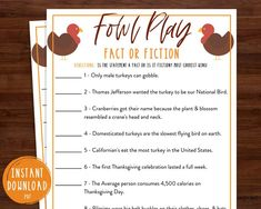 Thanksgiving Trivia Game Fowl Play Turkey Trivia | Etsy Fun Thanksgiving Games, Holiday Games, Family Thanksgiving, Holiday Fun, Peanuts Thanksgiving, Christmas Games, Holiday Crafts, Christmas Ornament, Trivia Games