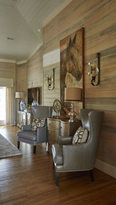 Leather Wing Back Chairs >> Lovelace Interiors>> | Grey Lounge Chair | Shiplap Walls | Shiplap Ceiling | Modern Farmhouse | Rustic | Designer: Susan Lovelace | Lovelace Interiors Western Bedroom Decor, Western Decor, Lounge Chair, Grey Lounge, Living Room Grey, Living Room Chairs, Living Rooms, Ceiling Decor, Shiplap Ceiling