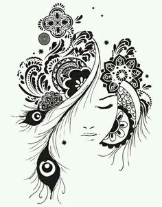 Dibujos Zentangle Art, Zentangle Drawings, Mandala Drawing, Zentangles, Cool Art Drawings, Art Drawings Sketches, Pencil Sketches Landscape, Doodle Art Designs, Tattoo Graphic