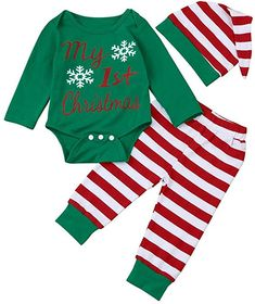 Amazon.com: 2017 Xmas Outfits Cute Newborn Infant Baby Boy Girl Romper Bodysuit+Pants+Hat Clothes Set (0-3M, Green): Clothing