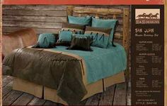 Western Rustic Lodge Brown Turquoise Tooled Fringed Concho Comforter Bedding Set | eBay