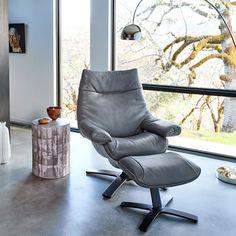 Natuzzi Re-Vive Leather Recliner + Ottoman Set