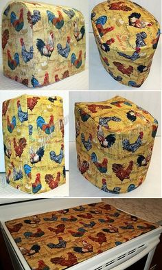 Custom Yellow Rooster Matching Appliance Cover Set