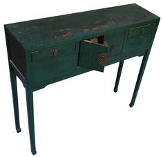 Green Distressed Asian Console Table  on Chairish.com