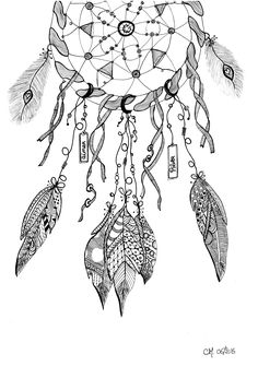 Free coloring page coloring-cathym20. 'Dreamcatcher', exclusive coloring page by Cathy M See the Facebook page See the original work
