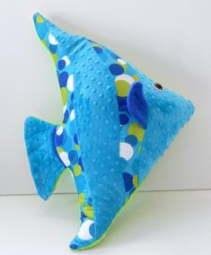 Angelfish pillow, fish pillows, sunfish pillows, fish cushions, nautical pillows, sea life pillows, nautical baby nursery, beach pillows   Angelfish or sunfish pillow is made of 2 different minky fabrics in a teal and lime green minky dot and a polka dotted lime green, white and blue