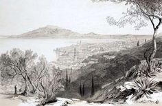 view from the castle hill, looking towards monte skopo, zante, by Edward Lear, c. Edward Lear, Impressionist, Modern Art, Castle, Prints, Painting, Outdoor, Islands, London