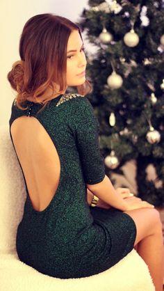 Gorgeous open back half sleeves black dress