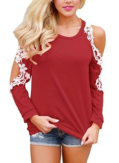 Sidefeel Women Floral Lace Crochet Cold Shoulder Long Sleeve Blouse Tops at Amazon Women's Clothing store: