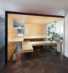 Amazing Sauna By Kung Saunas Home Gym combining views in to the sauna with large glass fronts Spa Design, Home Design, Home Interior Design, Portable Steam Sauna, Sauna Steam Room, Sauna Room, Sauna Shower, Masculine Bathroom, Garden Cabins