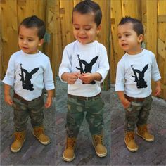 My lil terrorist :) # menswear, fahionkids, ootd, army, look, bunny, kids fashion, menstyle, outfit for boys, timberland rain boots, diy  shirt,