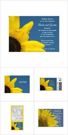 Sunflower and Sky WEDDING SET COLLECTION Stationery Products Invites Announcements Invitations Pretty Personalized Postage Stamps RSVP Thank You Cards & More!
