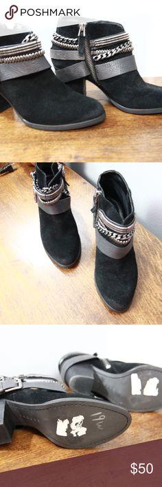Trouve Black Booties Sz 6.5 M Suede Bristol Trouve black booties in size 6.5 M. Suede uppers, belted/chains. 2 inch heels. Minimal wear, see pics.  inventory 17-107 Trouve Shoes Ankle Boots & Booties