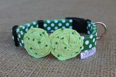 ****PLEASE NOTE: Matching Leash is NO LONGER AVAILABLE for this collar****  St. Patricks Day in style for your pet!!!    ***Please Note: Our collars no longer feature the label as shown in the photos above. Our care labels are now sewn into the back of all collars. Otherwise, collar will be as pictured.****    Your furry friend will make quite a statement in this adorable collar!! You can choose between 2 styles: collar with flowers as seen here or collar with bone (see photos on our shop…