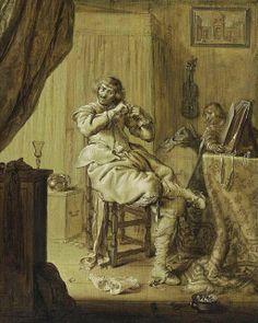 A Cavalier at His Dressing Table by Adriaen van de Venne, 1631