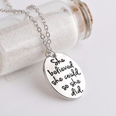 """""""She believed she could so she did"""" Inspirational Necklace – Goalcast"""