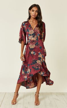 Looking for Long Sleeve Dresses? Call off the search with our Burgundy Floral Print Wrap Dress. Shop unique fashion at SilkFred Draped Dress, Boho Dress, Oriental Dress, Salsa Dress, Unique Fashion, Women's Fashion, Coats For Women, Floral Prints, Pant Suits