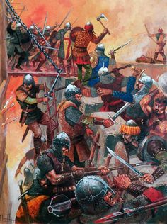 The fight lead by Godfrey of Bouillon, Duke of Lorraine, during the siege of Jerusalem in 1099.