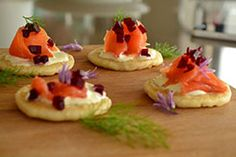 Smoked trout blinis with crème fraiche and Ballymaloe Beetroot - Ballymaloe Foods Smoked Trout, Smoked Salmon, Trout Recipes, Irish Recipes, Creme Fraiche, Canapes, Serving Plates, Beetroot, Sour Cream