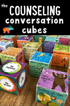 "Get the discussion rolling with these fun School Counseling Conversation Cubes! Covering 26 different school counseling and social emotional topics, The Counseling Conversation Cubes are like ""icebreaker thumb balls"".but in the form of dice! Social Work Offices, School Social Work, School Fun, School Counseling Office, Elementary Counseling, Elementary Schools, School Counselor Organization, Social Skills Activities, Counseling Activities"