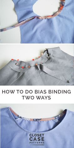 Never be afraid of installing bias binding again! All the tips and tricks, plus different methods! Source by kkosminukas VEJA MAIS kkosminukas., How to Sew Bias Binding: Two Methods Sewing Basics, Sewing Hacks, Sewing Tutorials, Sewing Tips, Sewing Crafts, Dress Sewing Patterns, Sewing Patterns Free, Free Sewing, Apron Patterns