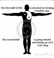 The first half of life is devoted to forming a healthy ego, the second half is going inward and letting to of it. ~Carl Jung~ In order for the soul to rise, the ego must descend. Carl Gustav Jung Zitate, Wisdom Quotes, Life Quotes, Faith Quotes, Quotes Quotes, Duality Of Man, Jungian Psychology, Psychology Quotes, Carl Jung Quotes