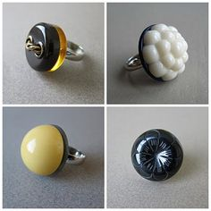 Oh hells yeah!  Cheap ring findings and using my extensive button collection for stones!  No wonder I never get anything done, I have more ideas than time.