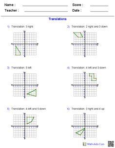 Translation, Rotation, and Reflection Worksheets